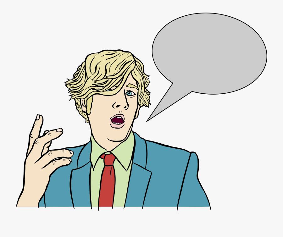 Speech Balloon Drawing Comics - Person Talking With Speech Bubble, Transparent Clipart