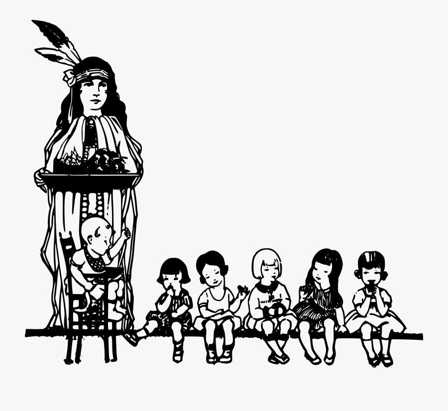 Native American And Children - Native American People Line Art Black And White, Transparent Clipart