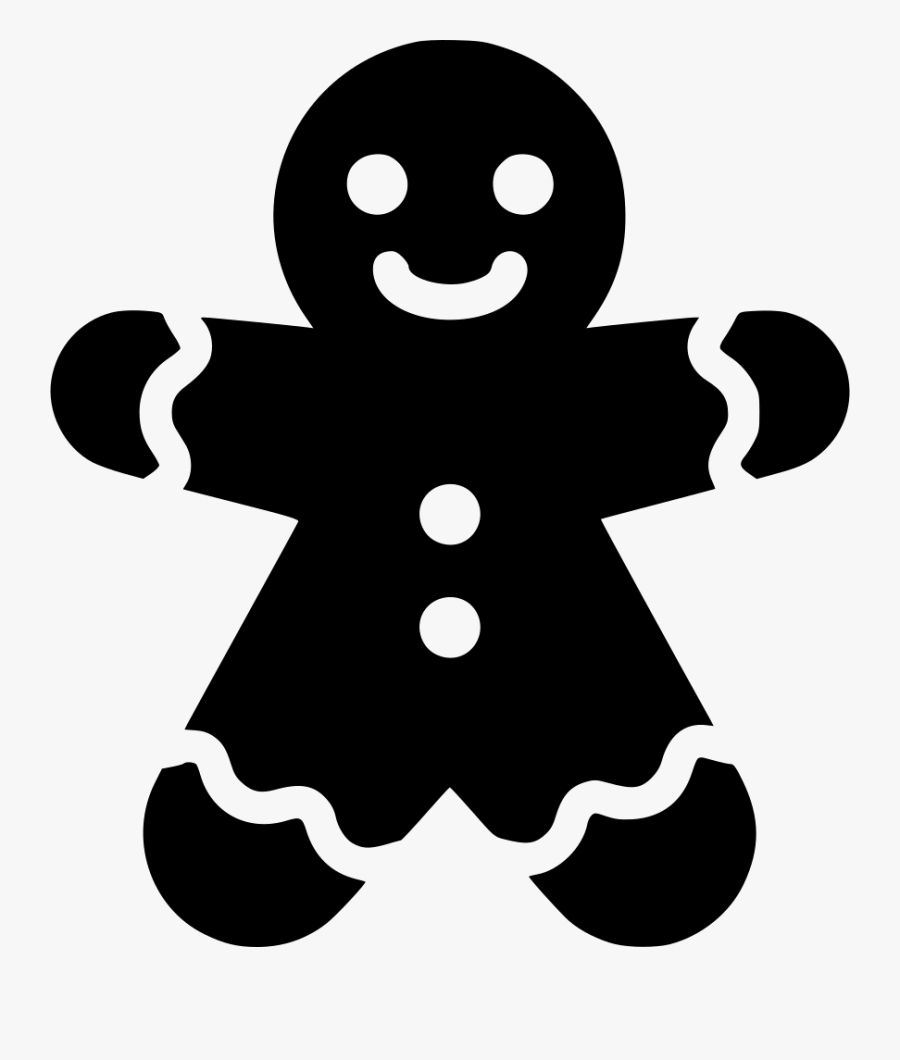 Clip Art Gingerbread Man Clipart Black And White - Gingerbread Man Icon, Transparent Clipart
