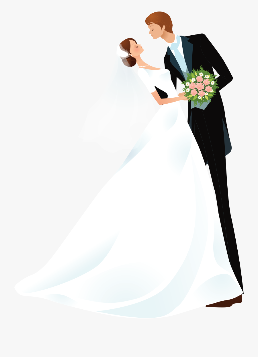 Bride And Groom Cartoon Images - Wedding Groom And Bride Cartoon, Transparent Clipart