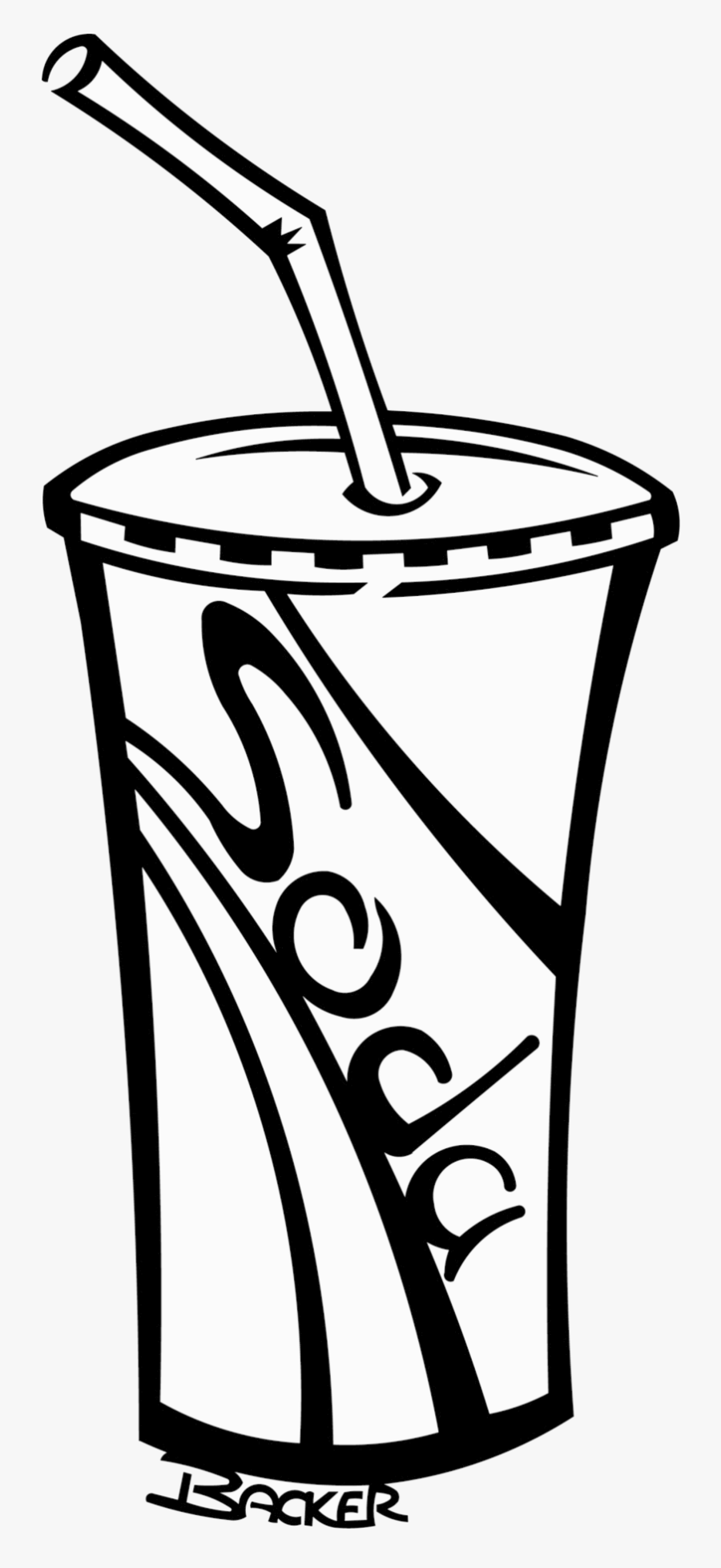 Soda Cup Soft Drinks Clipart Black And White Free ...