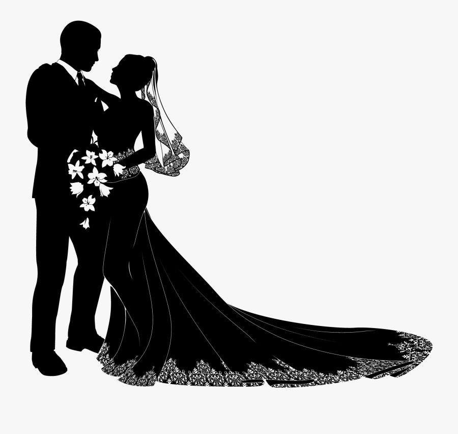Bride Clipart Transparent Background - Wedding Couple Silhouette Png, Transparent Clipart