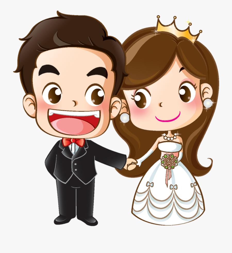 And Groom Wedding Cartoon Bride Marriage Invitation - Wedding Cartoon, Transparent Clipart