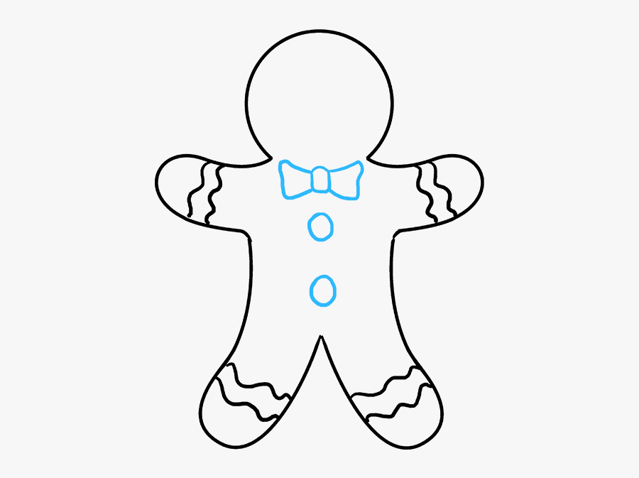 How To Draw A Gingerbread Man - Gingerbread Man Drawing, Transparent Clipart