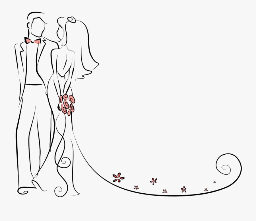 Transparent Wedding Couple Clipart - Wedding Invitation Bride And Groom Transparent Background, Transparent Clipart