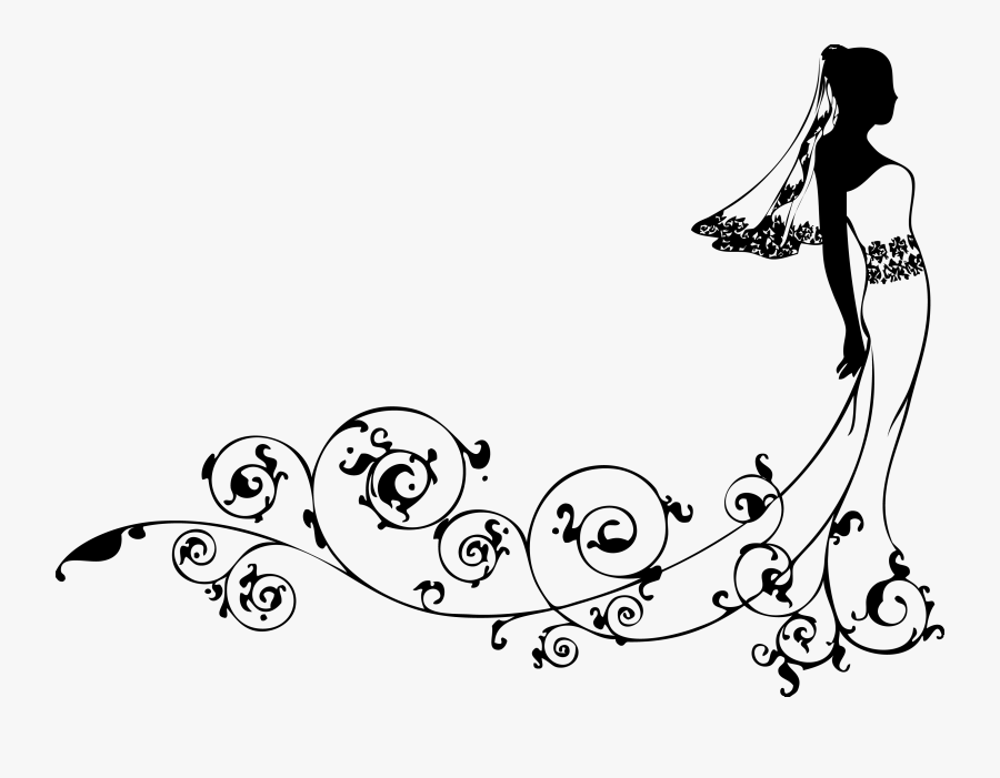 Bride Wedding Dress Clip Art - Design For Marriage Gift, Transparent Clipart