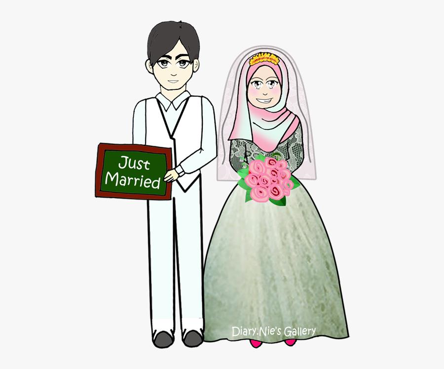 Transparent Bride Silhouette Png - Icon Wedding Muslim Png, Transparent Clipart