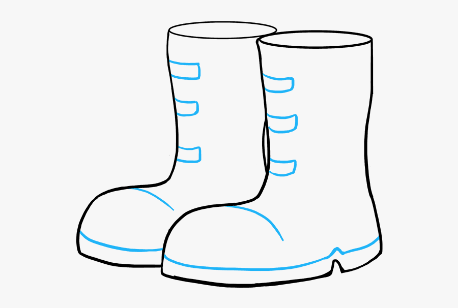 How To Draw Boots - Easy Rain Boots To Draw, Transparent Clipart