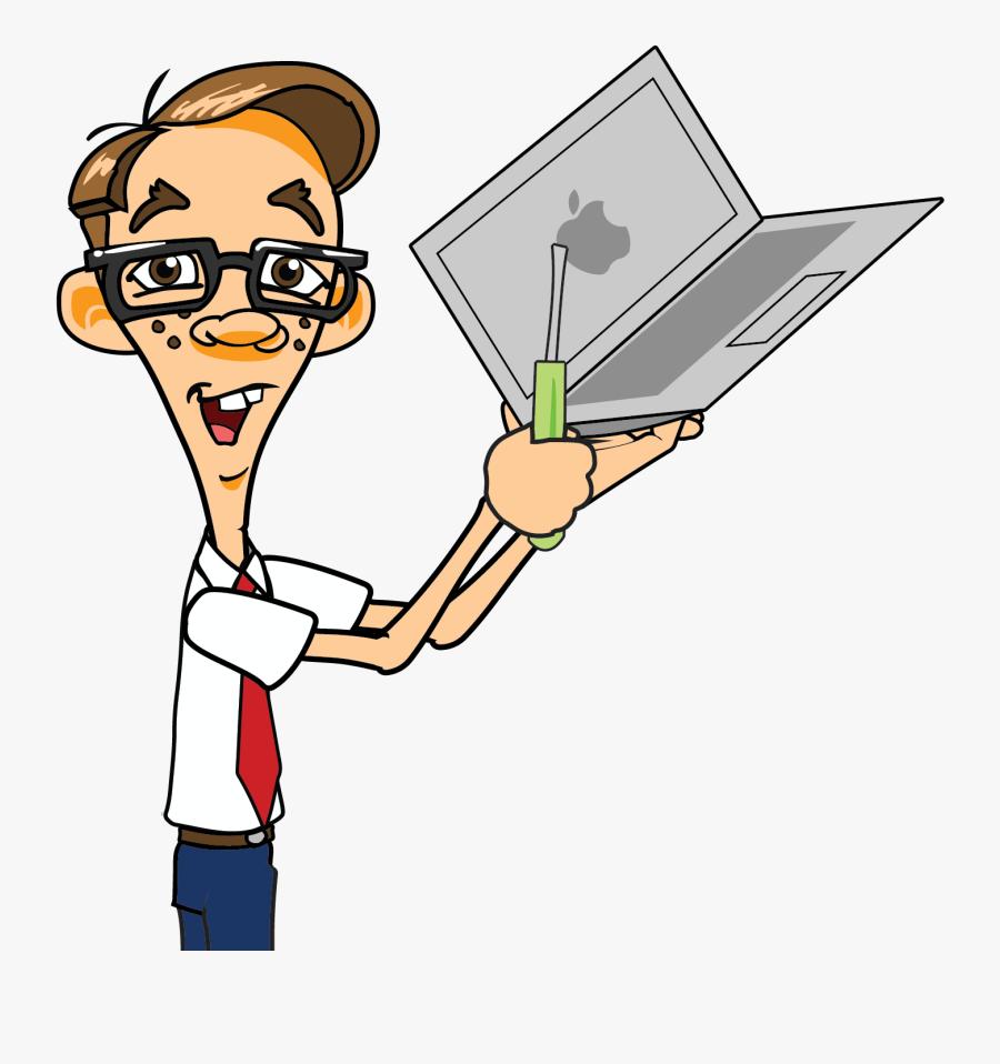 Clip Art Laptop Technician Nerd Clip - Computer Repair Man Clipart, Transparent Clipart