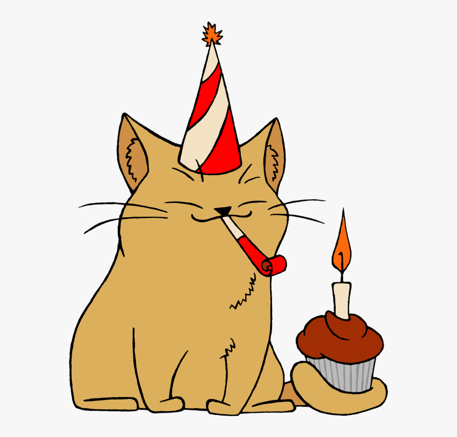 Clip Art Cat Birthday Clip Art - Cat With A Birthday Hat Png, Transparent Clipart