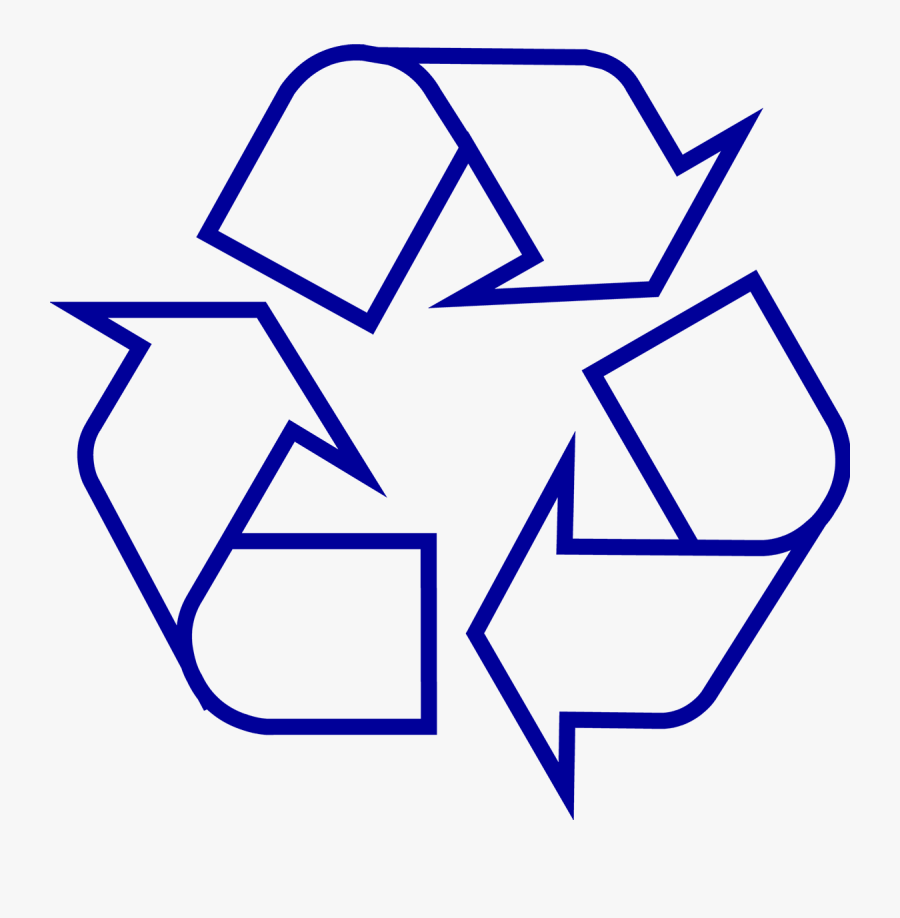 Recycling Symbol Icon Outline Dark Blue - Recycle Symbol Black And White, Transparent Clipart