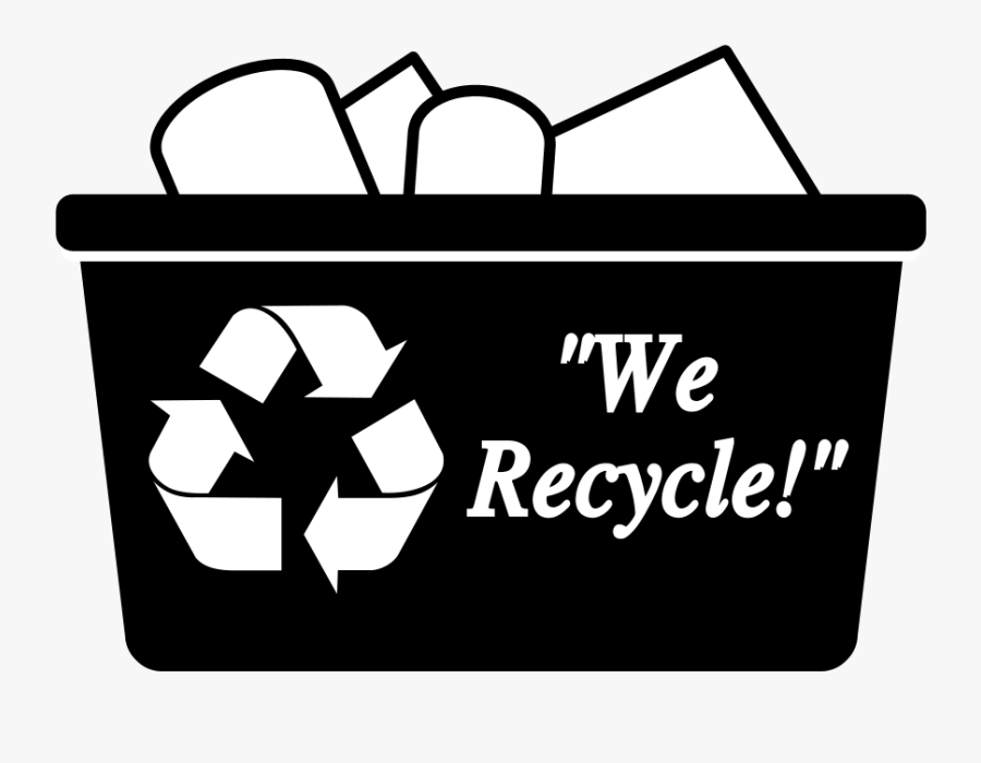 Recycling Bin Simple - Black And White Recycle Bins, Transparent Clipart