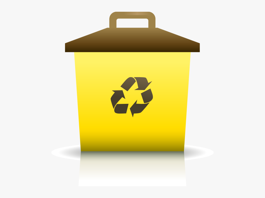 Recycling Container Clip Art - Yellow Recycle Bin Png, Transparent Clipart