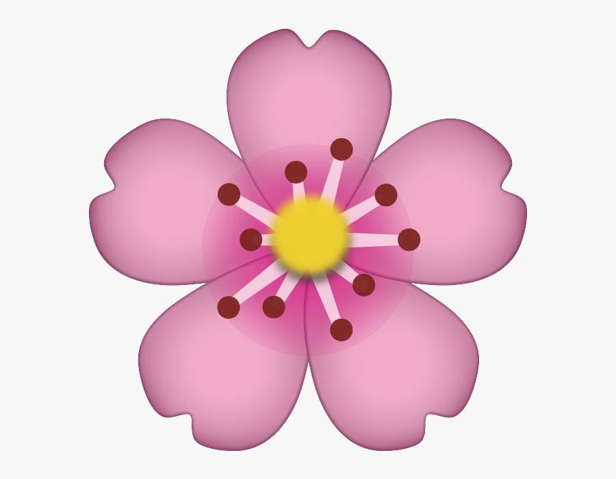 Cherry Blossom Clipart File - Flower Emoji Transparent Background, Transparent Clipart