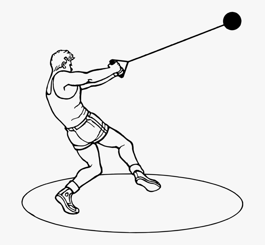 Hammer Throw Track & Field Sports Athlete Drawing - Hammer Throw Black And White, Transparent Clipart