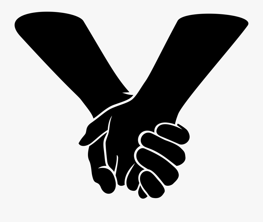 Clipart - Holding Hands - Holding Hands Black And White Clipart, Transparent Clipart