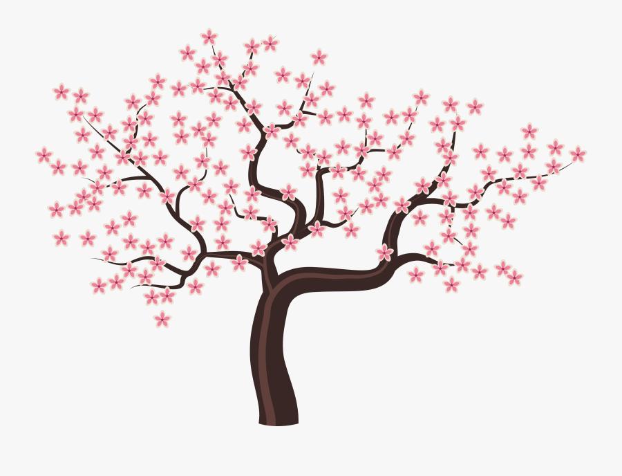 Tree With Flowers Png Clipart Image - Gambar Bunga Sakura Kartun, Transparent Clipart