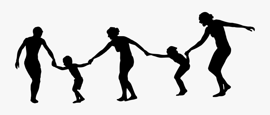 Family Holding Hands Silhouette - Silhouette Of People Holding Hands Png, Transparent Clipart