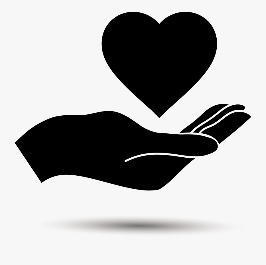 Clip Art Holding Hands Black And White - Hand Holding Heart Clipart, Transparent Clipart