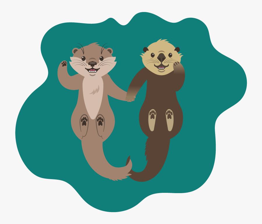 Otter Clipart Transparent - Otters Holding Hands Vector, Transparent Clipart