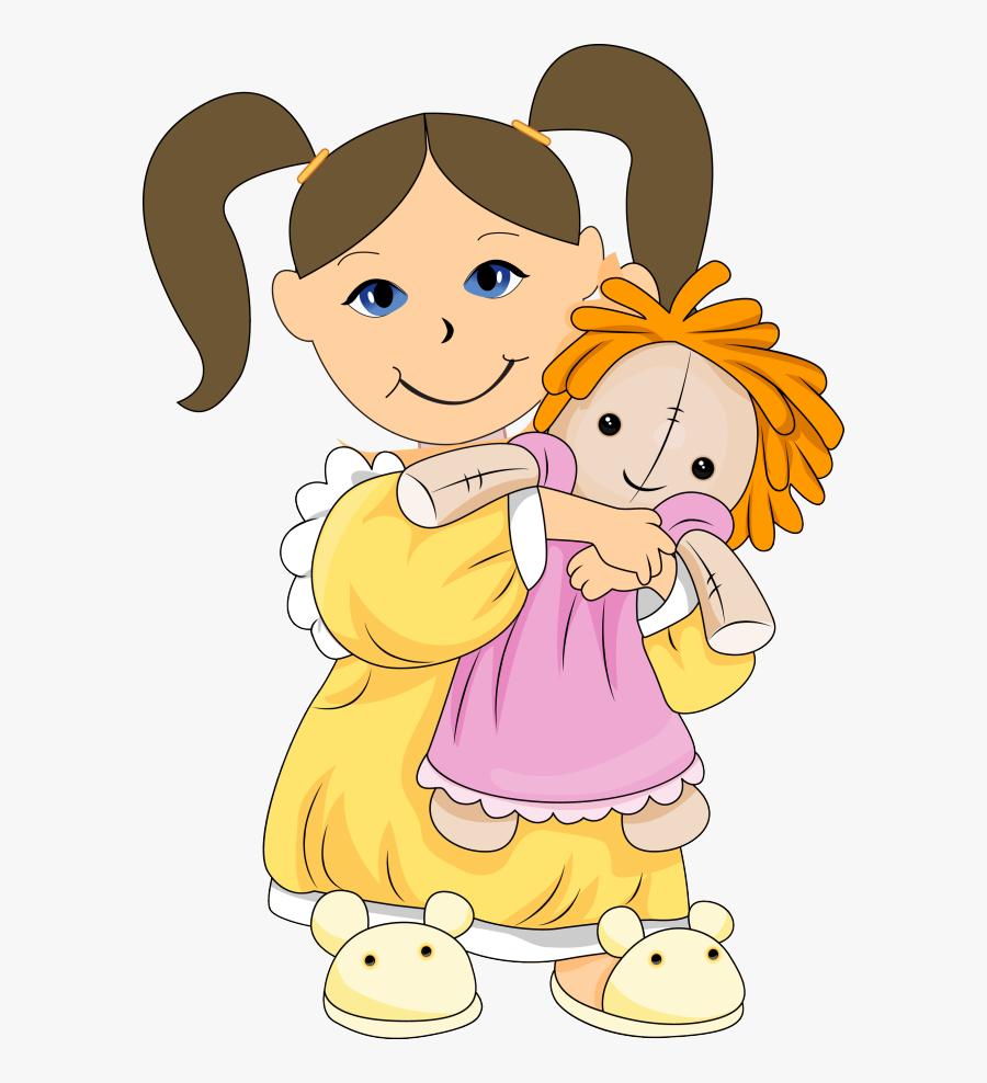 Dolls Clip Art - Girl Holding Doll Clipart, Transparent Clipart