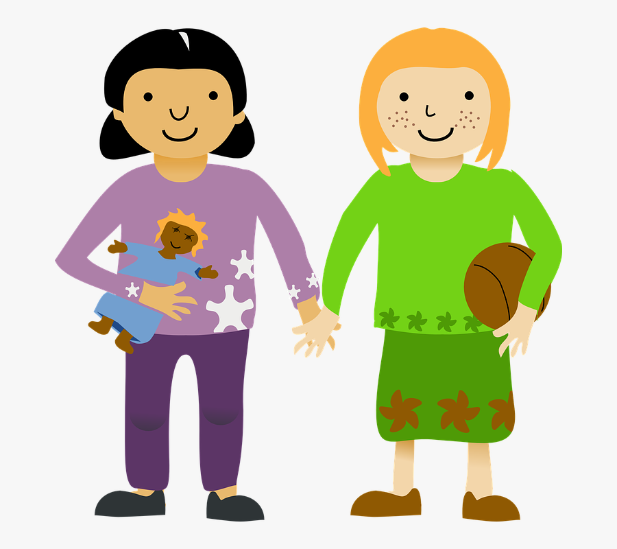 Friendship Two Guy Friend - Girls Holding Hands Clipart, Transparent Clipart