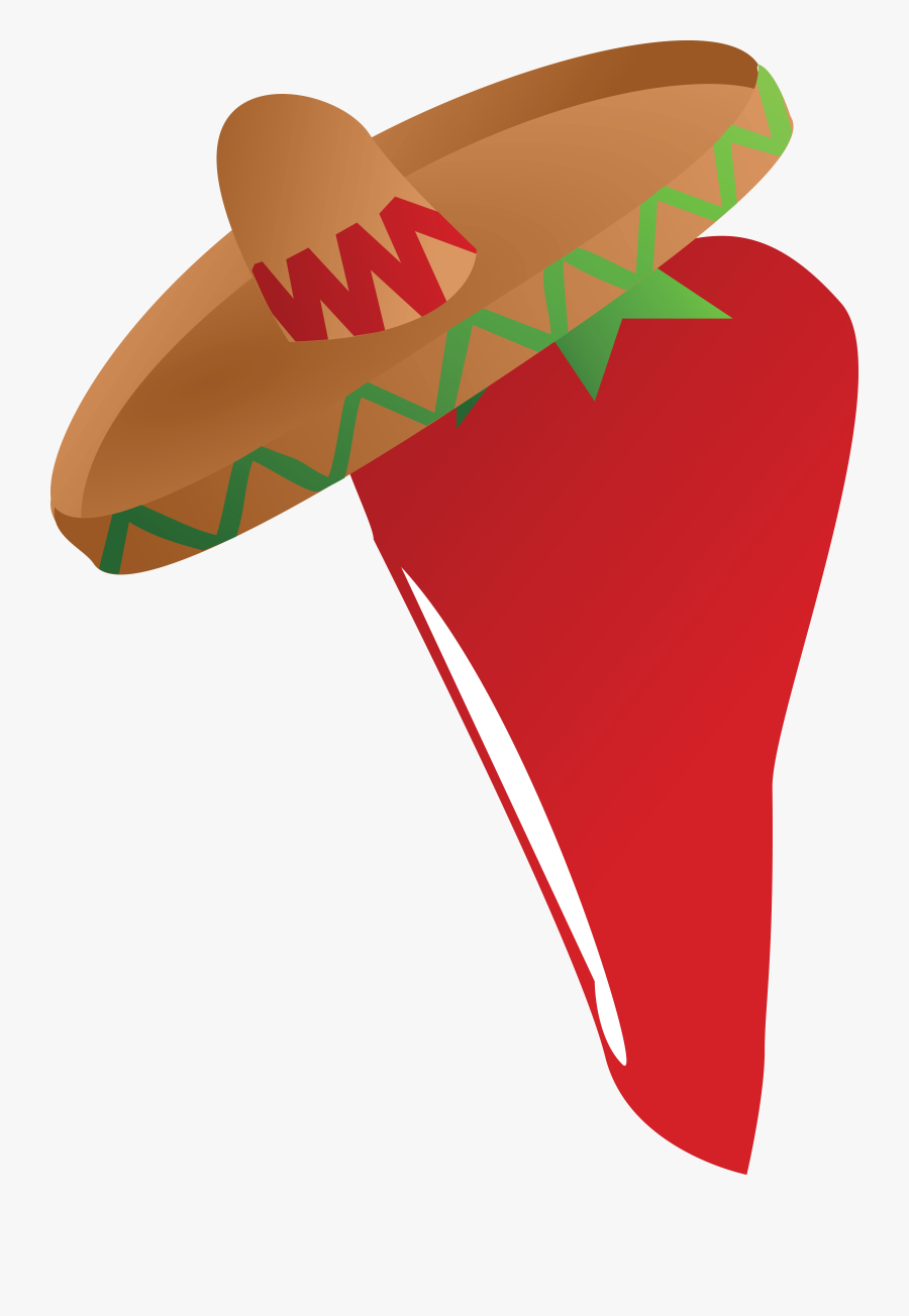 Free Clipart Of A Mexican Chili Pepper Wearing A Sombrero - Mexican Theme Clip Art, Transparent Clipart