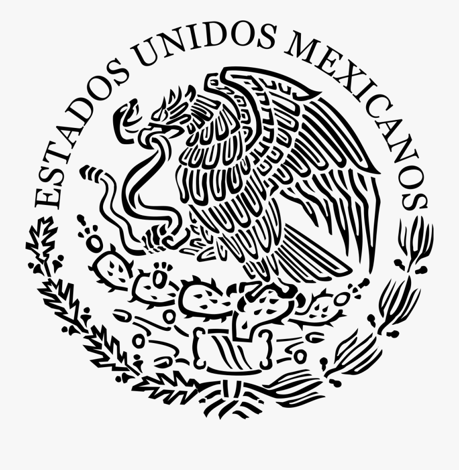 Energy Black And White Mexican Flag Symbol Clipart - United Mexican States Seal, Transparent Clipart