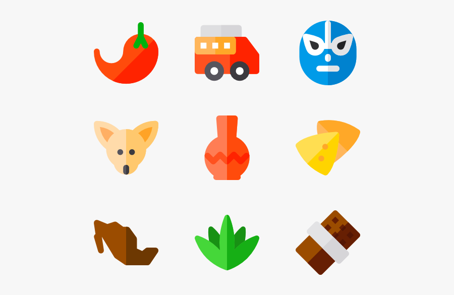 Food Icon Packs - Mexican Elements Vector Png, Transparent Clipart