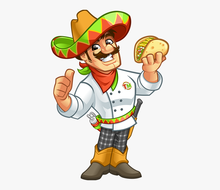 Mexican Taco Man - Mexican Guy Clipart Transparent, Transparent Clipart