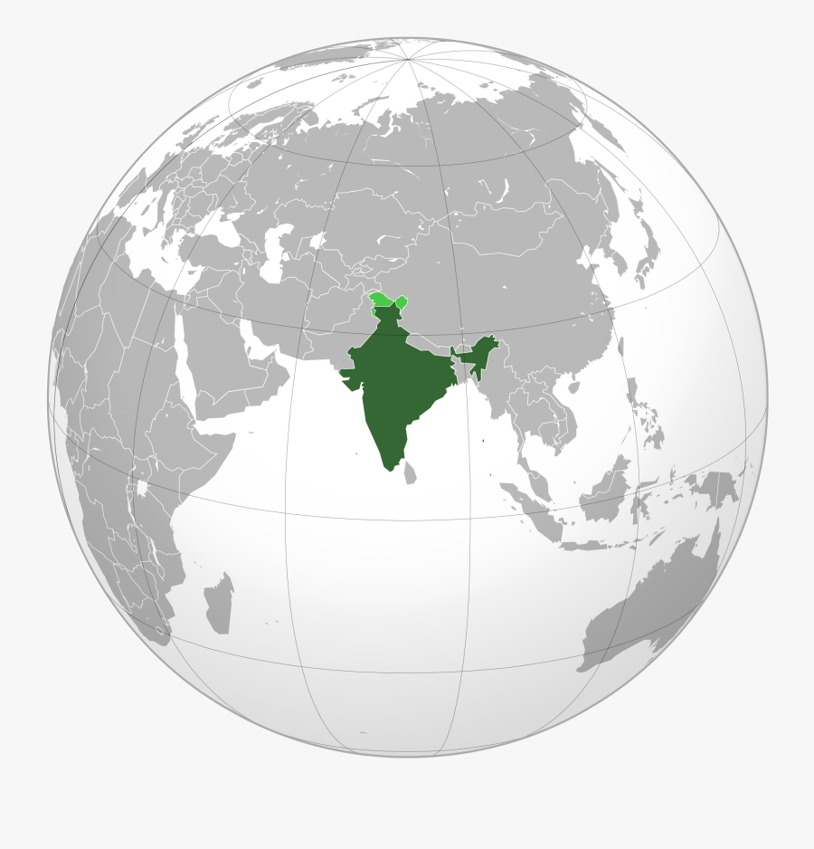 India On World Map - South Asia Map Globe, Transparent Clipart