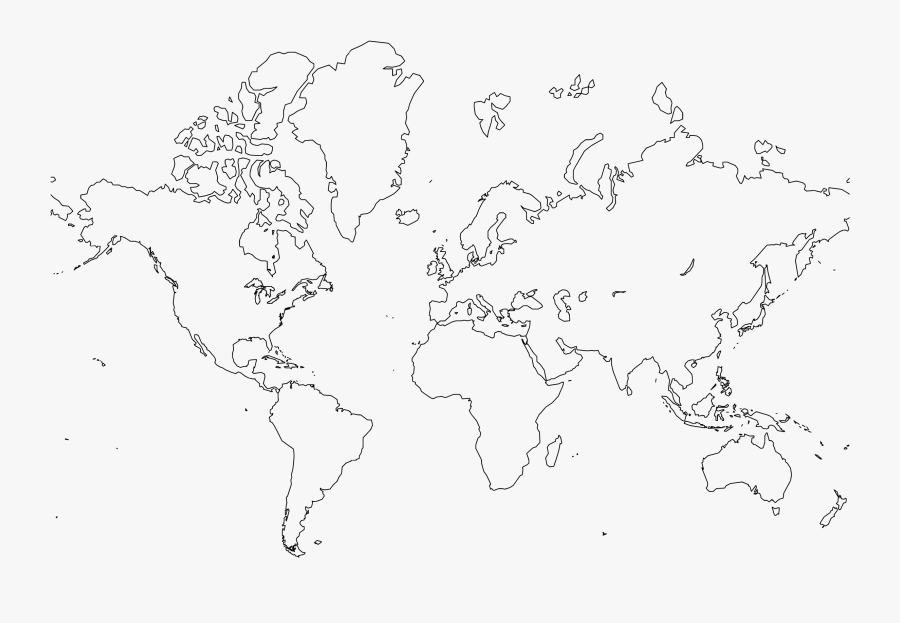 Biggest Free Clipart Site - World Map Outline Large, Transparent Clipart