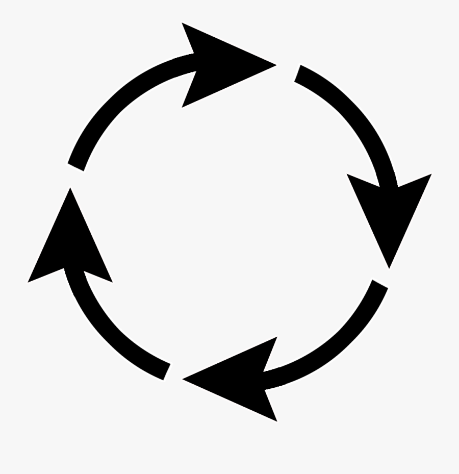 Arrow Circle White Outline - Circle With Arrows Png, Transparent Clipart
