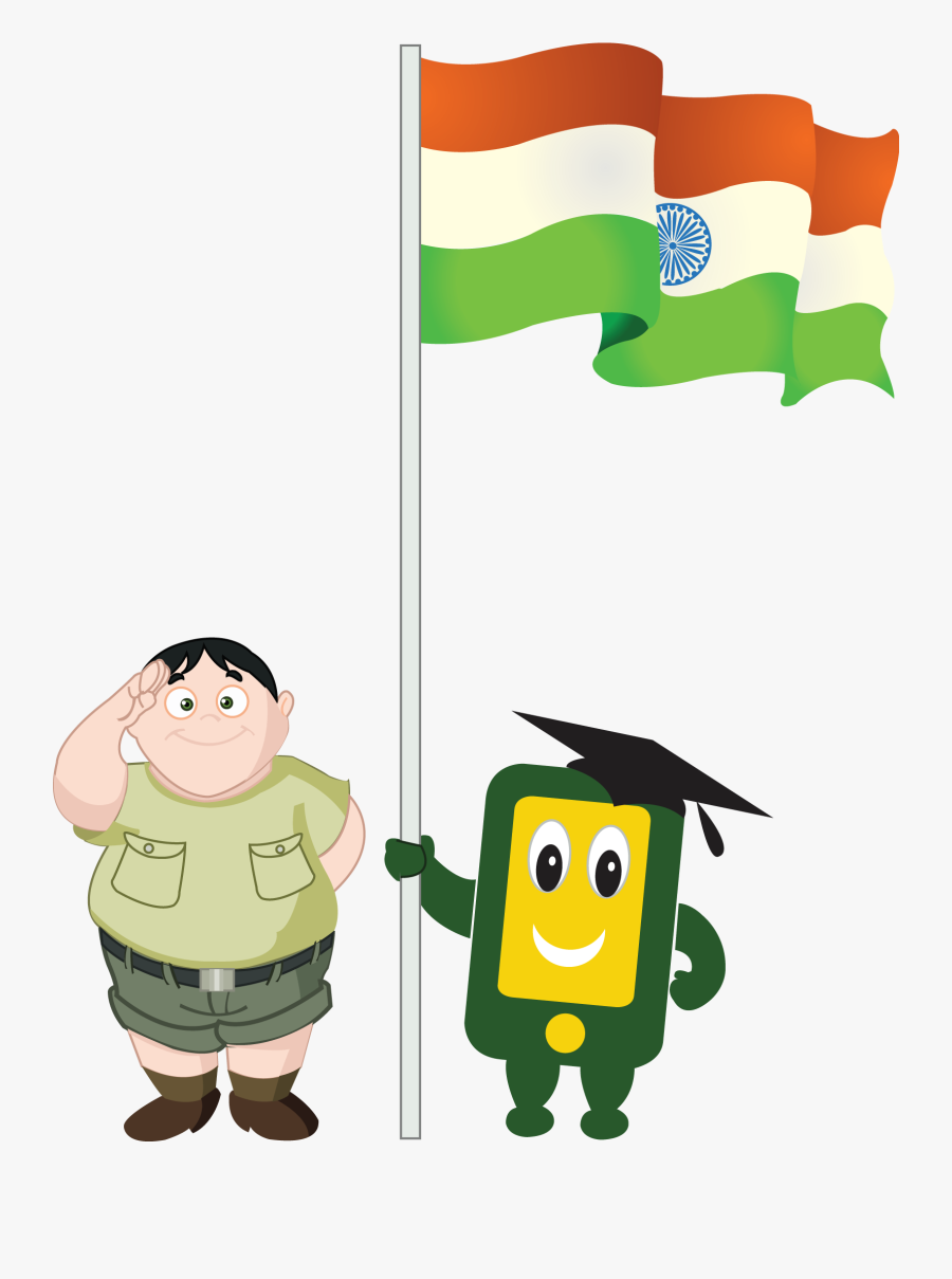 Transparent Indian Flag Png - Boy With Indian Flag Png, Transparent Clipart
