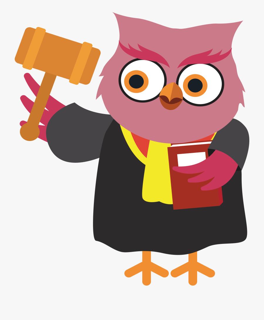 Clip Art Transparent Judge Cartoon Law Owl - Law Cartoon Png, Transparent Clipart