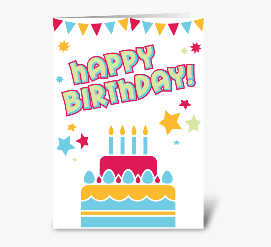 Happy Birthday Cake Greeting Card - Greeting Card, Transparent Clipart