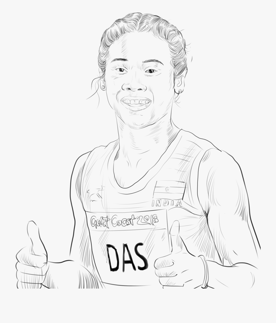 Drawing Hima Das Sketch, Transparent Clipart