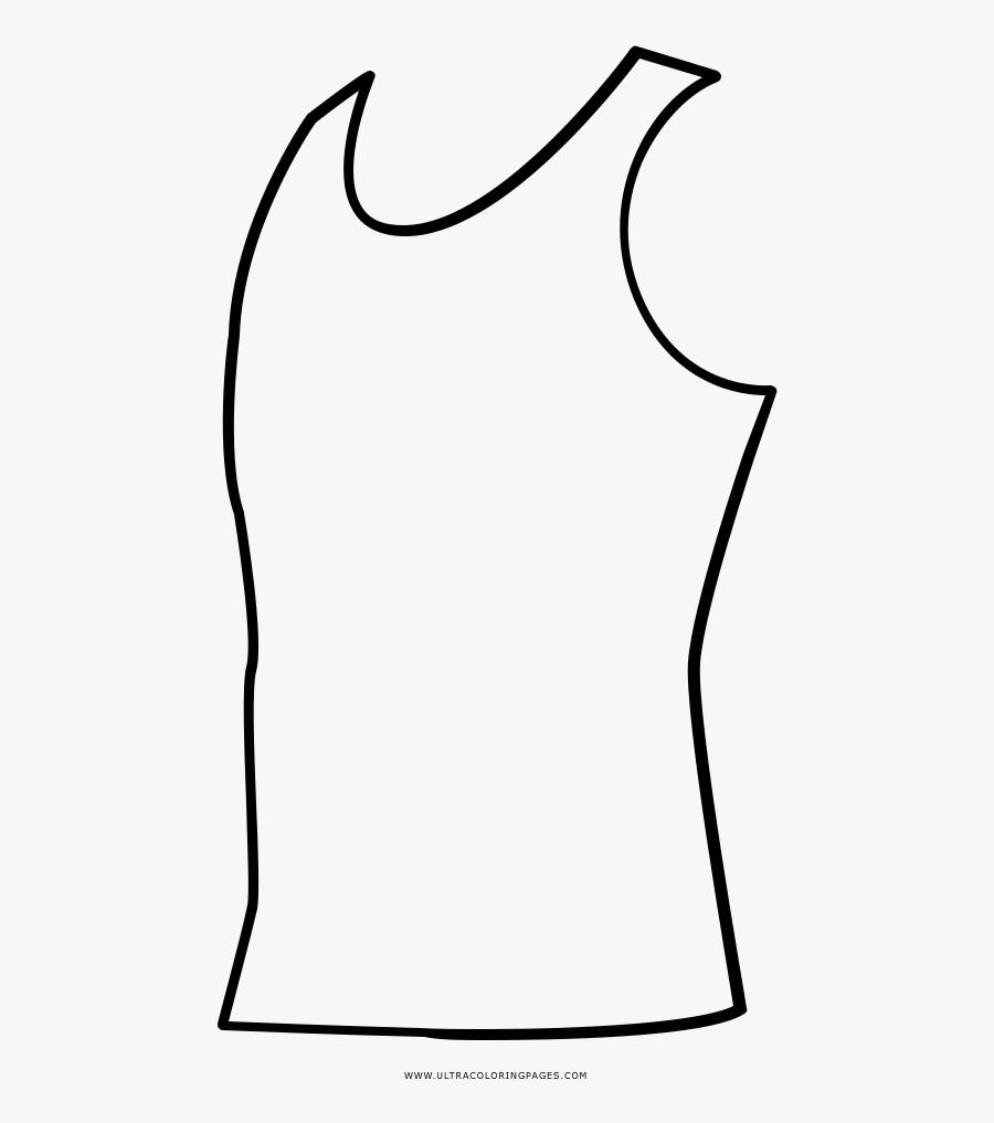 Tank Top Coloring Page - Line Art, Transparent Clipart