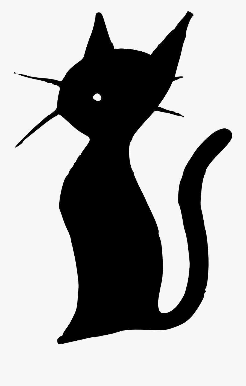 Cat Kitten Silhouette Paintbrush Clip Art - Cute Tiny Transparent Art, Transparent Clipart