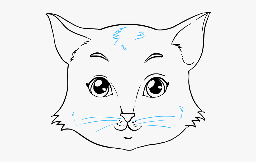 Clip Art How To Draw A - Cat Basic Drawing Face, Transparent Clipart