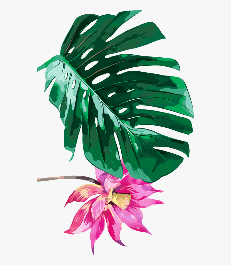 #tropical #leaves #flowers #plants #ftestickers - Palm Tree Leaves Pattern, Transparent Clipart