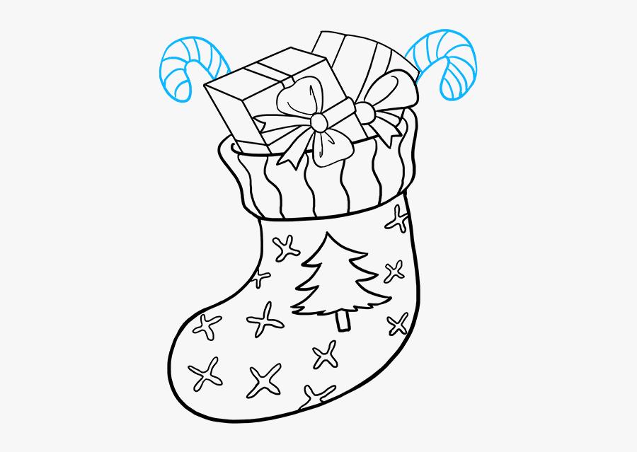 How To Draw Christmas Stocking - Line Art, Transparent Clipart