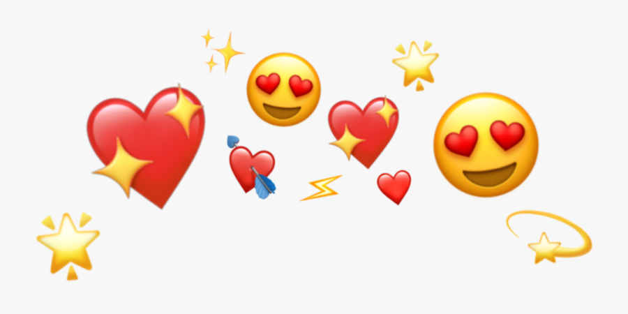 #crown #heart #heartcrown #tumblr #red #star #shine - Heart Crown Emoji Png, Transparent Clipart
