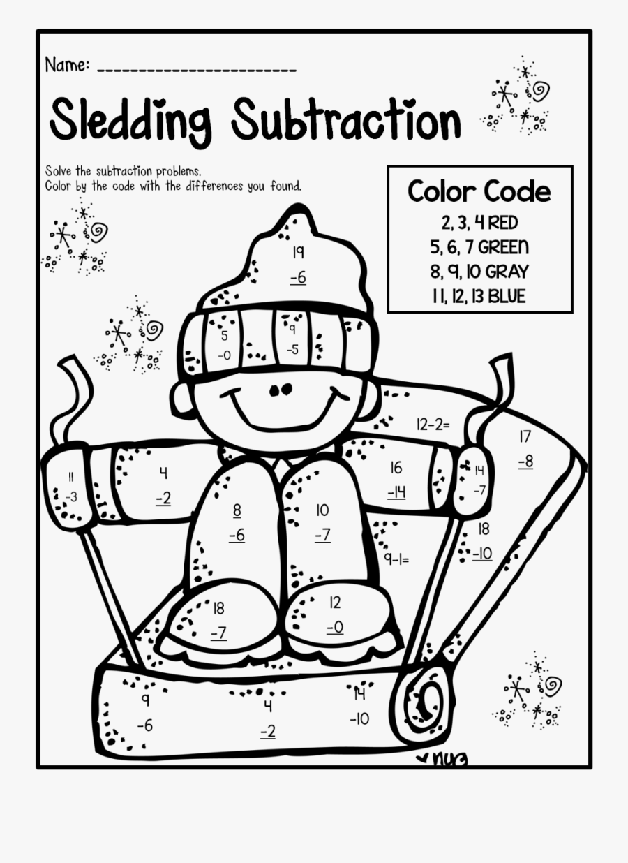 Transparent First Grade Clipart Black And White - 2nd Grade Subtraction Coloring Page, Transparent Clipart