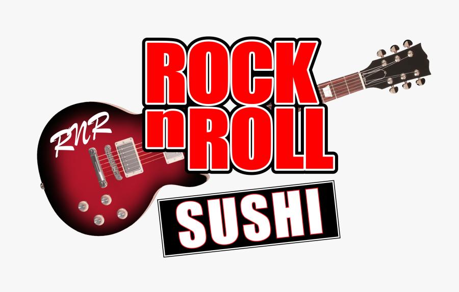 Text,electric Guitar,guitar,string Instrument Accessory,logo,guitar - Rock N Roll Sushi Logo, Transparent Clipart