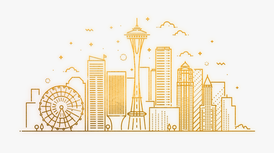 Seattle City Line Drawing, Transparent Clipart