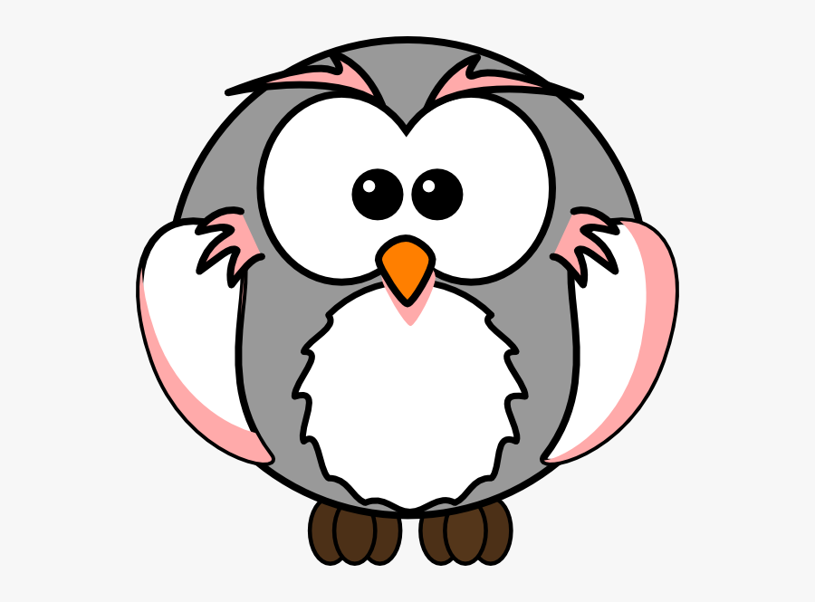 Light Pink/grey Owl Clip Art At Clker - Grey Cartoon Owl, Transparent Clipart