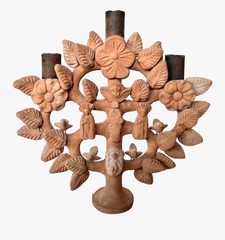 Vintage Mexican Ceramic Tree Of Life Candelabra - Chandelier, Transparent Clipart