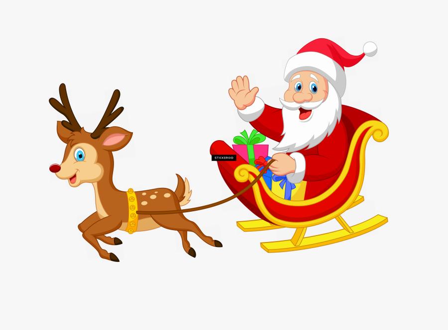 Santa Sleigh Holidays - Transparent Santa Claus In Sleigh, Transparent Clipart