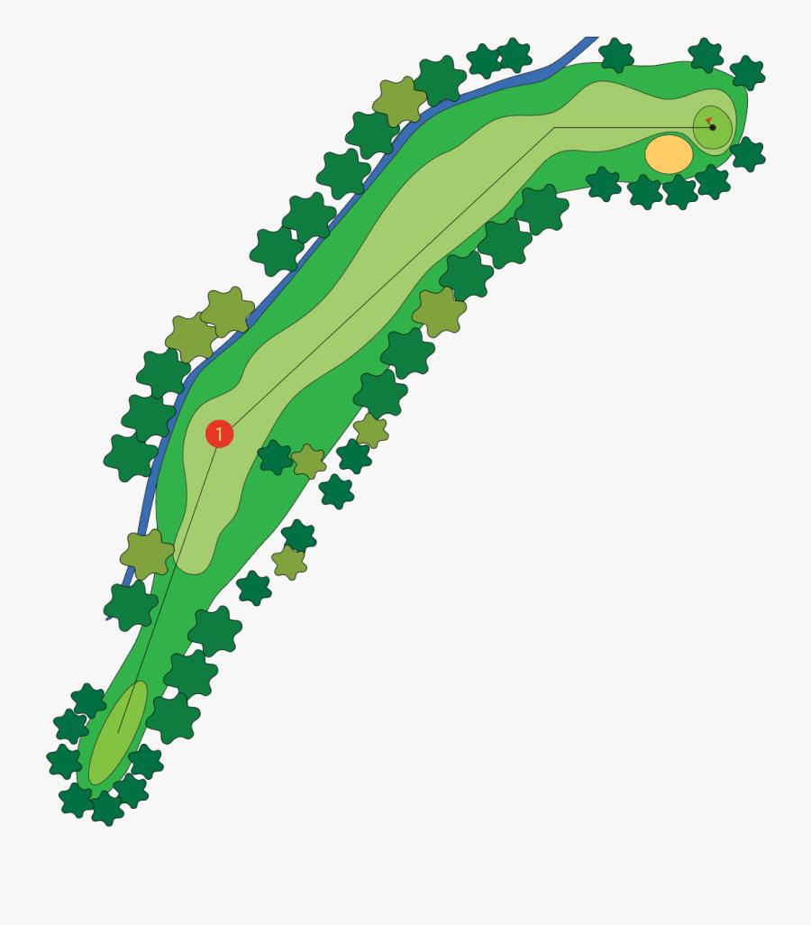 Golfing Clipart Hole In One - Par 5 Golf Course Map, Transparent Clipart